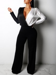 Black-White Patchwork Deep V-neck Two Piece Elegant Party Wide Leg Long Jumpsuit