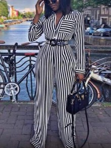 Black White Striped Print Pockets Single Breasted High Waisted Wide Leg Long Jumpsuit