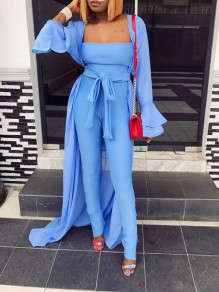 Sky Blue Off Shoulder Bodycon Two Piece Casual Long Jumpsuit Whith Outerwear