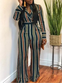 Green Striped Draped Turndown Collar High Waisted Casual Wide Leg Long Jumpsuit