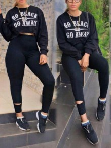 "Black ""GO Black OR GO AWAY "" Print Long Sleeve Two Piece Bodycon High Waisted Long Jumpsuit"