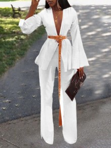 White Belt Deep V-neck Flare Sleeve Two Piece Party Wide Leg Long Jumpsuit
