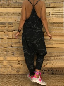 Black Camo Print Condole Belt Pockets V-neck Cut Out Casual Long Jumpsuit