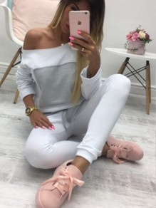 White Color Block Drawstring Pockets High Waisted Casual Long Jumpsuit