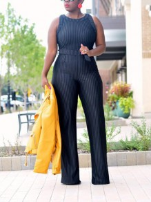 Black Striped Print Sashes Belt High Waisted Catsuit Elegant Office Worker/Daily Long Jumpsuit