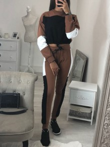 Brown Patchwork Drawstring 2-in-1 Casual Fashion Long Jumpsuit