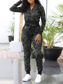 Army Green Camouflage Zipper Pockets High Waisted Casual Two Piece Long Jumpsuit