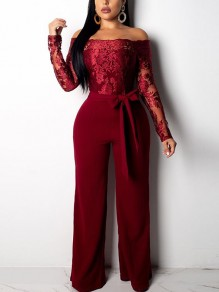 Burgundy Patchwork Lace Off Shoulder Belt Backless Elegant Party Wide Leg Palazzo Long Jumpsuit