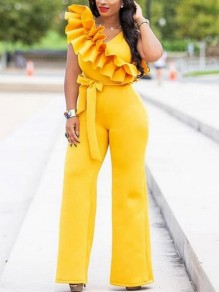 Yellow Ruffle Asymmetric Shoulder Belt High Waisted Elegant Party Wide Leg Palazzo Long Jumpsuit
