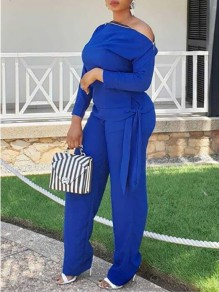 Royal Blue Zipper One Shoulder Casual Two Piece Wide Leg Long Jumpsuit