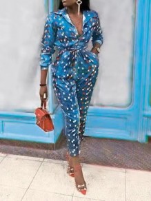 Blue Floral Print Pockets Belt Long Sleeve Casual High Waisted Long Jumpsuit