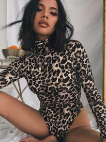 Black Leopard Print Long Sleeve Fashion Short Jumpsuit Bodysuit
