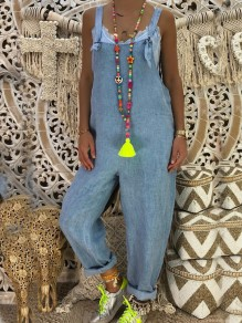 Light Blue Pockets Mid-rise Oversized Denim Casual Overall Long Jumpsuit