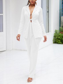 White Sashes Turndown Collar High Waisted Two Piece Casual Suit Long Jumpsuit