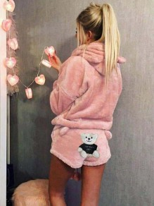 Light Pink Animal Bear 2-in-1 Print Fur Hooded Long Sleeve Casual short Jumpsuit