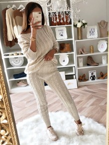 Beige Plain 2-in-1 Asymmetric Shoulder Casual Long Jumpsuit
