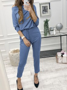 Light Blue Drawstring High Waisted Casual Sweet Going out Long Jumpsuit