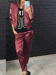 Wine Red Striped Print Pockets 2-in-1 Sports Long Jumpsuit