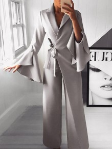 Light Grey Belt Irregular Bell Sleeve Elegant Party Wide Leg Palazzo Wedding Long Jumpsuit Pants