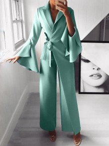 Light Blue Belt Irregular Bell Sleeve Elegant Party Wide Leg Palazzo Long Jumpsuit Pant