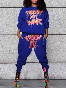 Royal Blue Monogram Pussy Not War Pattern Pockets Haren Casual Long Jumpsuit