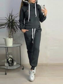 Black Pockets Drawstring Fur Hooded Long Sleeve Casual Long Jumpsuit