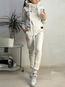 Beige Pockets Drawstring Fur Hooded Long Sleeve Casual Long Jumpsuit