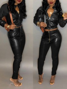 Black Zipper Pockets Two Piece Latex Vinyl Patent High Waisted Casual Long Jumpsuit