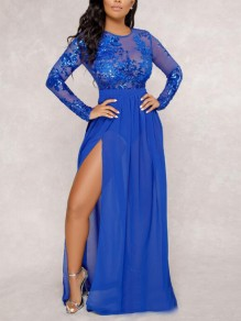 Royal Blue Patchwork Grenadine Sequin Glitter Backless Sparkly Leotard Bodysuit Short Jumpsuit