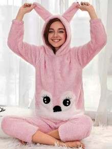 Pink Cartoon Print 2-in-1 Hooded Cute Jumpsuit Pant