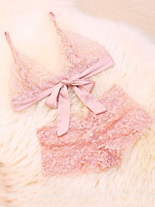 Pink Patchwork Embroidery Lace Bow 2-in-1 Sweet Short Jumpsuit