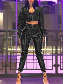Black Zipper PU Leather High Waisted Two Piece Rubber Casual Long Jumpsuit
