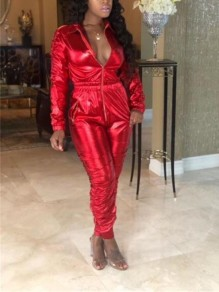 Red Zipper Pockets Turndown Collar Long Sleeve Bodycon Latex Vinly Patent Rubber Party Long Jumpsuit