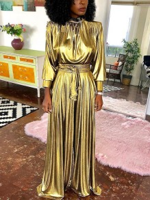 Golden Pleated Belt Long Sleeve High Waisted Wide Leg Palazzo Party Long Jumpsuit