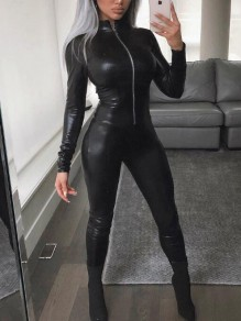 Black Zipper Pu Leather Rubber Latex One Piece Catsuit Clubwear Party Long Jumpsuit