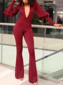 Burgundy Pearl Deep V-neck Puff Sleeve Bell Bottom Flare Elegant Party Long Jumpsuit