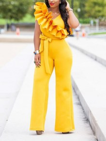 Yellow Ruffle Belt Elegant Party High Waisted Wide Leg Palazzo Long Jumpsuit