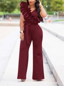 Burgundy Ruffle Belt Elegant Party High Waisted Wide Leg Palazzo Long Jumpsuit