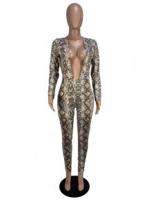 Khaki Snake Skin Pattern Deep V-neck High Waisted Clubwear Party Long Jumpsuit