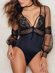 Black Patchwork Lace Grenadine Cut Out backless V-neck Short Jumpsuit
