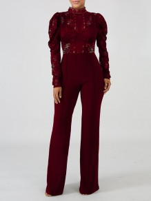 Burgundy Patchwork Lace Cut Out Mandarin Collar Puff Long Sleeve Flare Bell Bottom Long Jumpsuit Pants