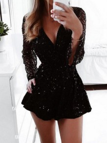Black Patchwork Sequin V-neck Long Sleeve Sparkly Glitter Birthday Party Short Jumpsuit