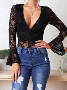 Black Patchwork Lace Ruffle One Piece Short Fashion Short Jumpsuit