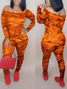 Orange Camouflage Off Shoulder Drawstring High Waisted One Piece Casual Long Jumpsuit