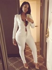 White Patchwork Buckles Deep V-neck Long Sleeve Plus Size Cassual Jumpsuit Pants