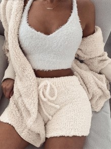 Beige Drawstring 2-in-1 Hooded Short Jumpsuit Pant