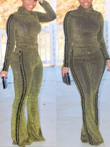 Gold Bright Wire Two Piece Long Sleeve Bell Bottomed Flares Casual Long Jumpsuit