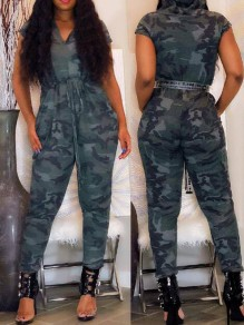 Army Green Camouflage Haren Drawstring High Waisted Hooded Casual Long Jumpsuit