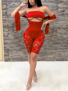 Red Patchwork Lace Cut Out Bodycon Sheer Party Short Jumpsuit