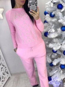 Pink Drawstring Pearl 2-in-1 Fashion Long Jumpsuit